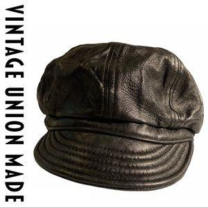 VTG Union Made Leather Lambskin Black Cap Hat